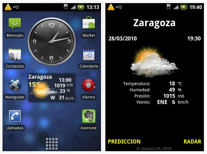 Meteo widget aplicacion para android for Widget tiempo android