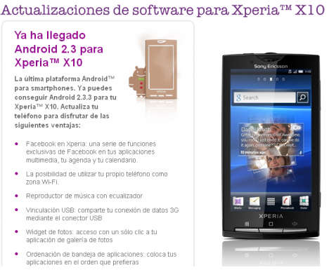Xperia X10 finalmente se actualiza a Android 2.3.3 Gingerbre