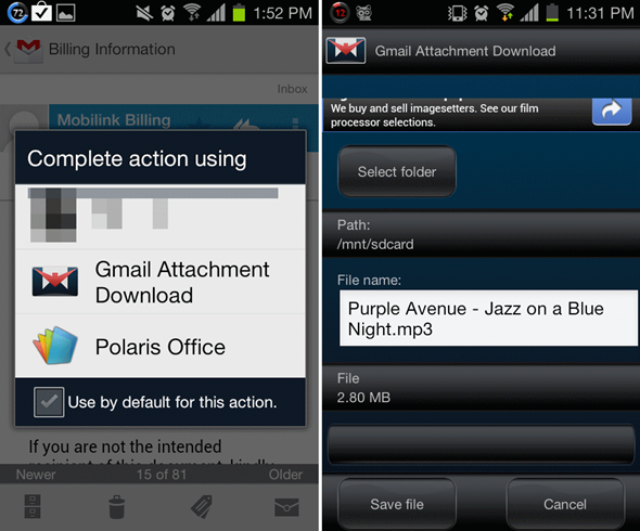 Gmail Attachment Download – descargar archivos adjuntos en Gmail para Android