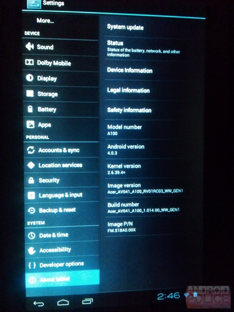 Disponible la Actualizacion a Ice Cream Sandwich para Acer Iconia A100