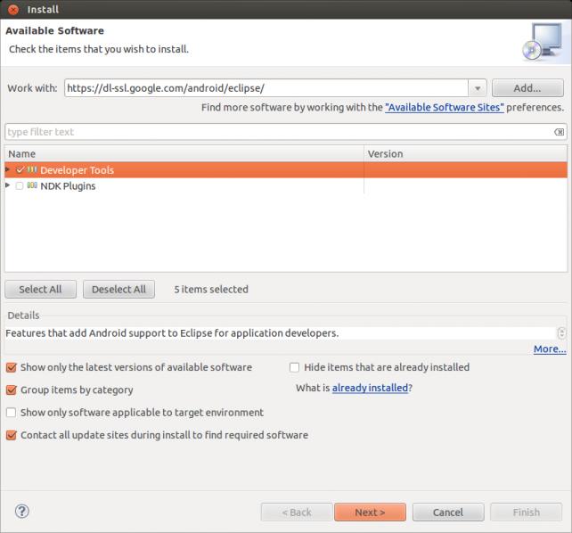 Captura ventana Install New Software de Eclipse
