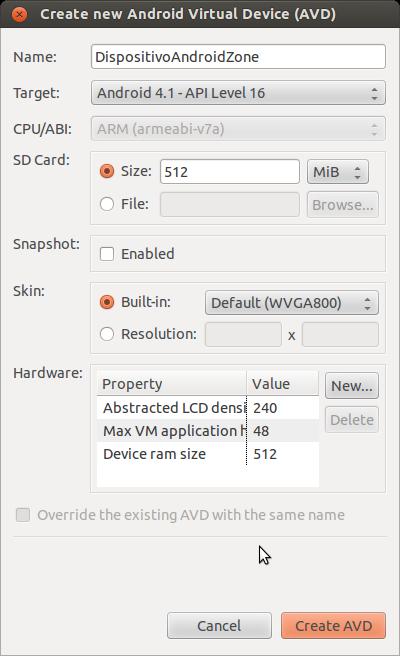 Ventana de configuración de nuevo dispositivo virtual