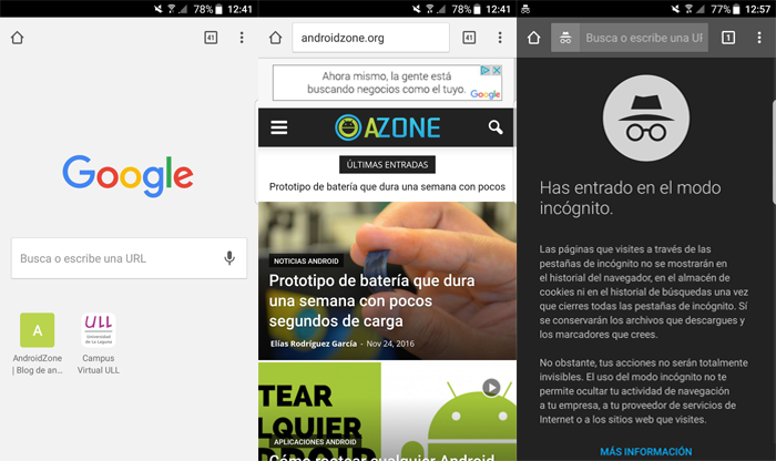 Navegadores Web Android Google Chrome