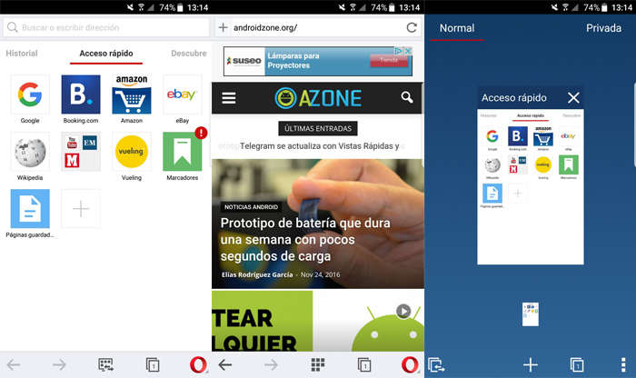 Navegadores Web Android Opera Browser