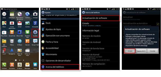 Actualizar Samsung Galaxy Note OTA