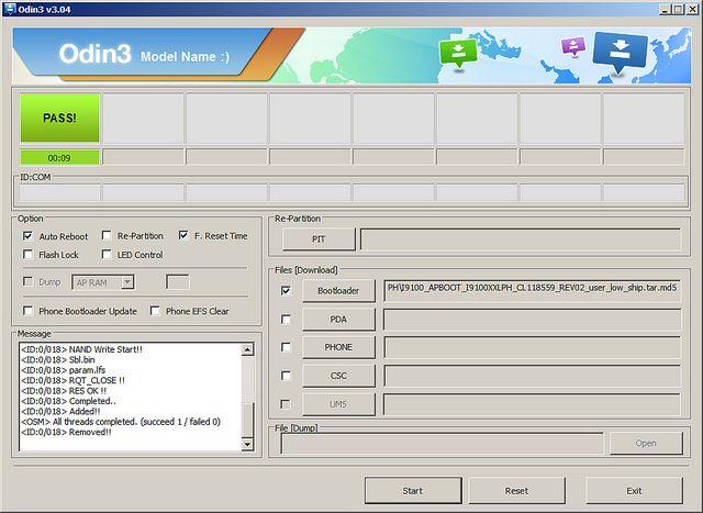 ODIN3 Flasheo bootloader