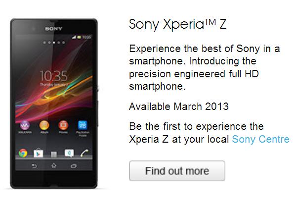 Sony Xperia Z Australia
