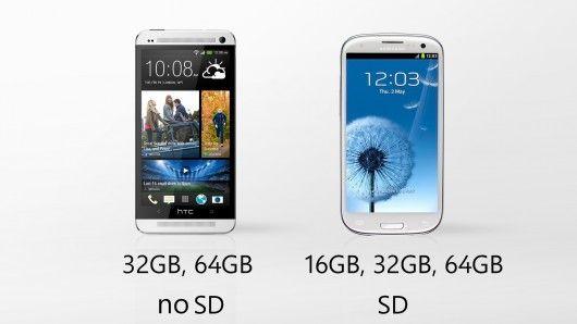 Galaxy S4 vs HTC One memoria