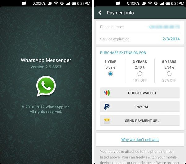 WhatsApp para Android de Pago