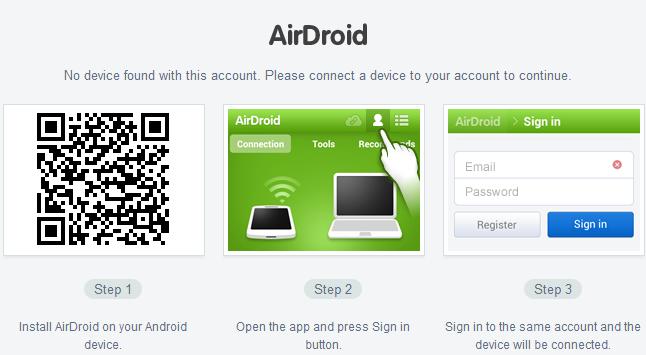 AirDroid 2 Conectar dispositivo