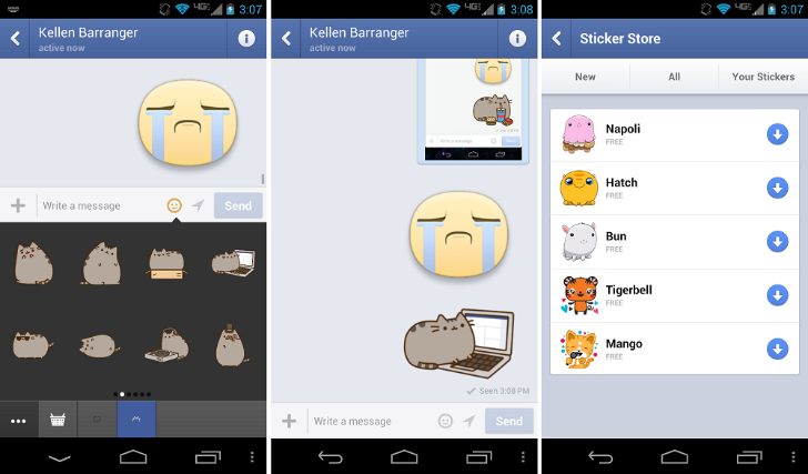 Facebook Messenger Android Stickers