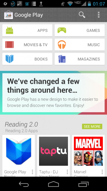 Nuevo Google PLAY 4.0