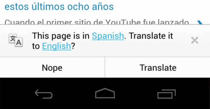 Chrome 28 Android Translate