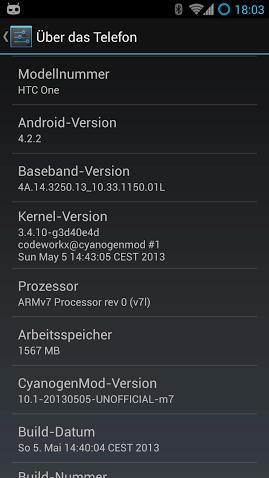 HTC One CyanogenMod