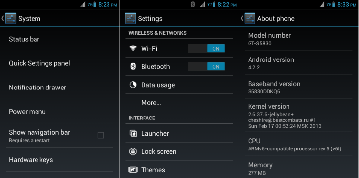Samsung Galaxy Ace Android 4.2.2