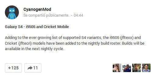 CyanogenMod 10.1 Galaxy S4 GT-i9505