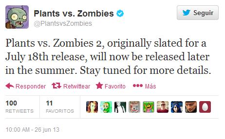 Plants vs Zombies 2 se retrasa Twitter