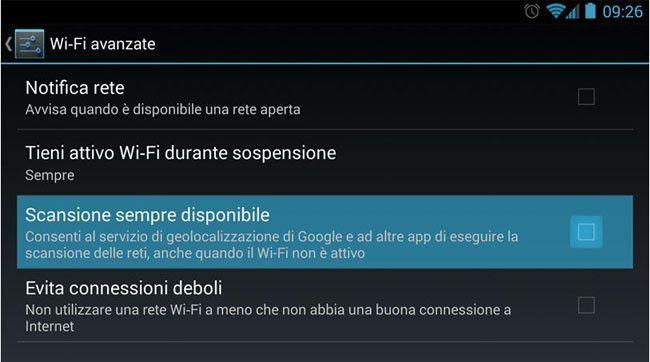 Android 4.3 Ubicacion WiFi