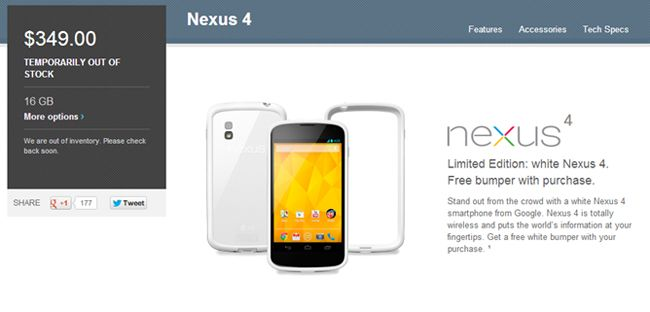 Nexus 4 Blanco Google PLAY