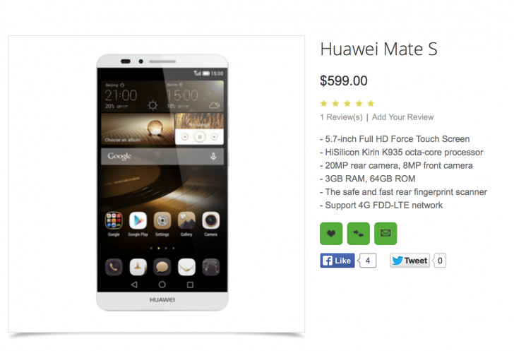 Huawei Mate S con Force Touch