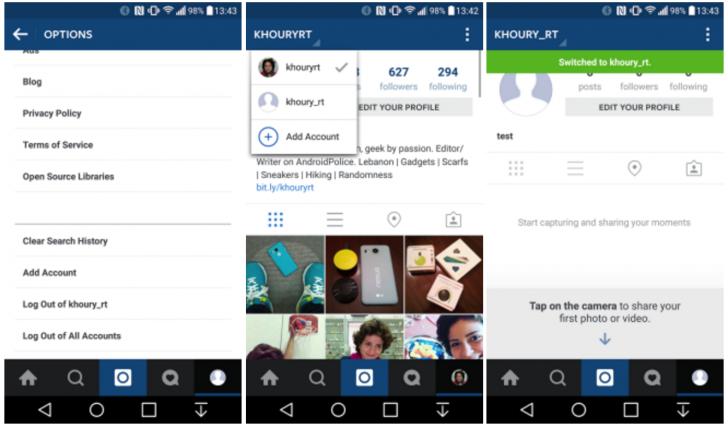 Instagram cuentas multiples