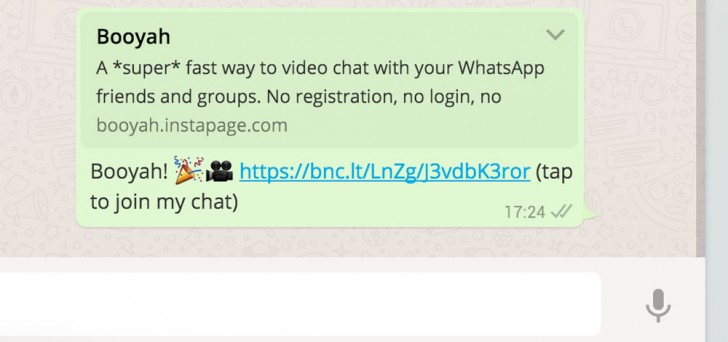 Videollamadas WhatsApp Booyah