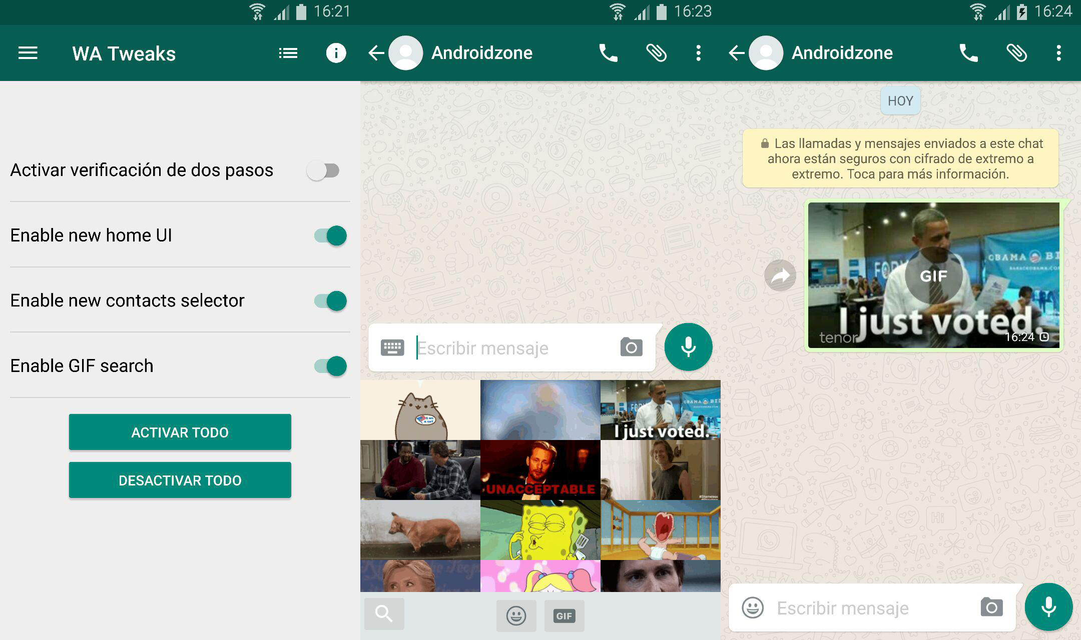 WA Tweaks y gifs en whatsapp