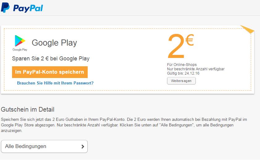 Cupón PayPal descuento Google Play
